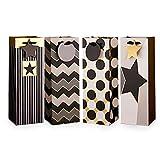 NAVADEAL 12PCS Metallic Black Gold Geometric Wine Gift Bags Bulk For Champagne Liquor with Handles...