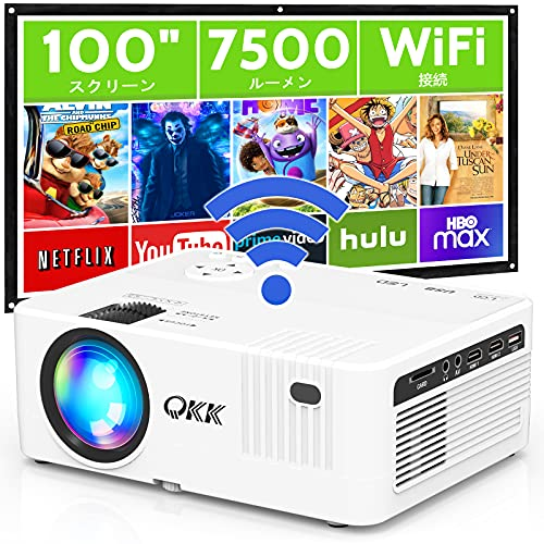 QK.K WiFiプロジェクター 7500LM高輝度100 のスクリーン付属300  超大画面 スマホと直接に接続可 ワイヤレス接続 スピーカー内蔵 スマホ タブレット パソコン TV Stick ゲームプレイヤー DVDプレイヤーなど多種多様な機器と接続可能 映画用プロジェクター