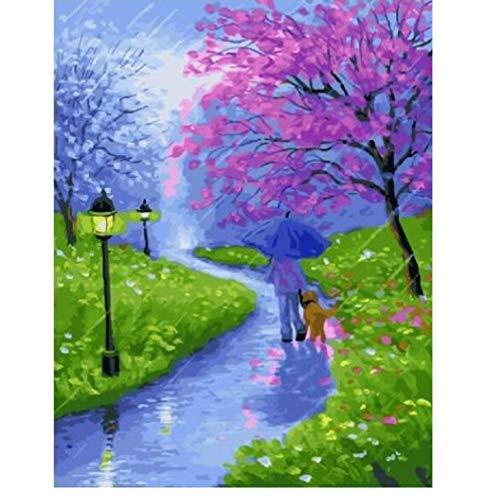 OKOUNOKO Adultes Paysage De Printemps Bricolage Peinture par Numéros Peinture Acrylique sur Toile Moderne Wall Art Photo À Colorier par Numéros 40X50Cm sans Cadre