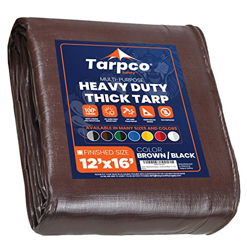 Tarpco Safety Extra Heavy Duty 14 Mil Tarp Cover, Waterproof, UV Resistant, Rip and Tear Proof, Poly Tarpaulin with Reinforced Edges for Roof, Camping, Patio, Pool , Boat (Brown/Black 12′ X 16′)