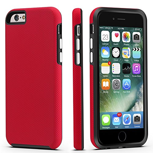 CellEver Compatible with iPhone 6 / 6s Case, Dual Guard Protective Shock-Absorbing Scratch-Resistant Rugged Drop Protection Cover Designed for iPhone 6 / 6S (4.7 Inch) (Red)