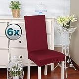 Fundas para sillas Pack de 6 Fundas sillas Comedor Fundas elásticas, Cubiertas para sillas,bielástico Extraíble Funda, Muy fácil de Limpiar, Duradera (Paquete de 6, Rojo Oscuro)