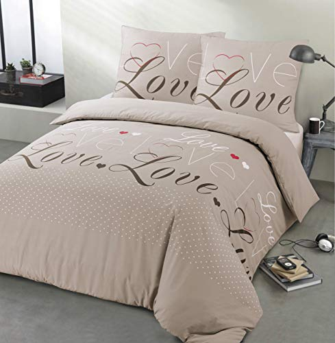 Vission – Juego de cama de franela Love – Funda nórdica de 240 x 220 cm con 2 fundas a juego – 100% algodón