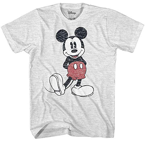 Disney Men's Full Size Mickey Mouse Distressed Look T-Shirt (Small, Ash Heather)