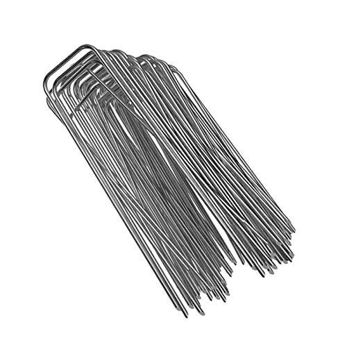 Engfgh 100 Unids/Paquete Jardín Peg Silver Metal Forma U Jardín Garden Garden Garden Clava Nail Film Pegs Jardinería Herramientas De Fijación Pega De Película
