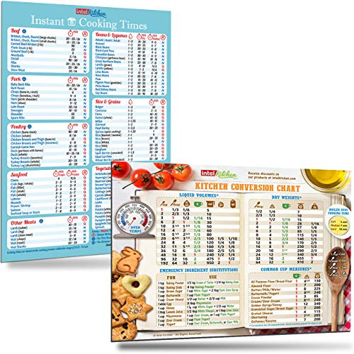 "Best Kitchen Gifts Set: Cooking Times (100 Foods) for Instant Pot and Cool Kitchen Conversion Chart Magnets 8""x11"" Bigger Magnet Bigger Text Easy To Read Recipes Cookbook Cheat Sheet Accessories"