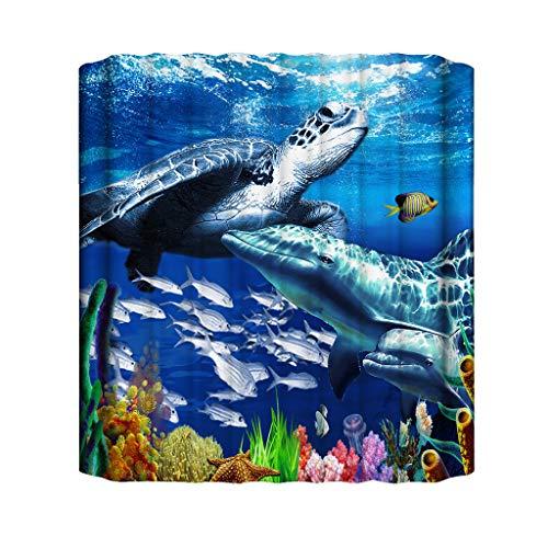 Xmiral Duschvorhänge Unterwasserwelt 3D Gedruckte BadewanneVorhang Badezimmervorhang 180cmx180cm(at)