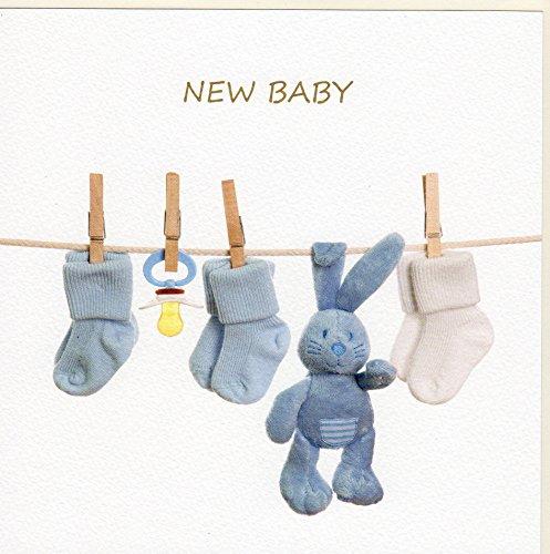 GOODmanCARDS Originelle Glückwunschkarte zur Geburt eines Jungen auf edlem Stucco Tintoretto Karton FA7056