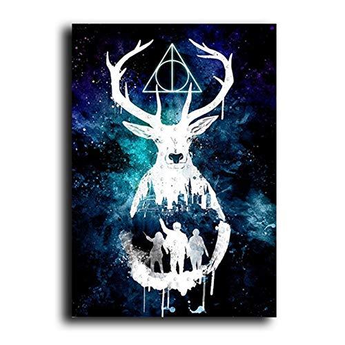 Harries Poster Hirsch Keramik Aquarell Malerei Leinwand Filmplakate und Drucke Quadro Cuadros Wohnzimmer rahmenloses dekoratives Wandbild A12 60x80cm