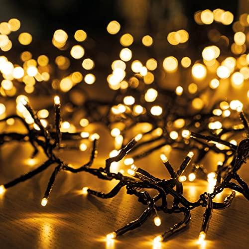 11m LED Lichterkette außen Weihnachten Extra Warmweiß Cluster Lichterkette Weihnachtsbaum Büschellichterkette innen Strombetrieben Tannenbaum Christbaum Weihnachtslichterkette außen