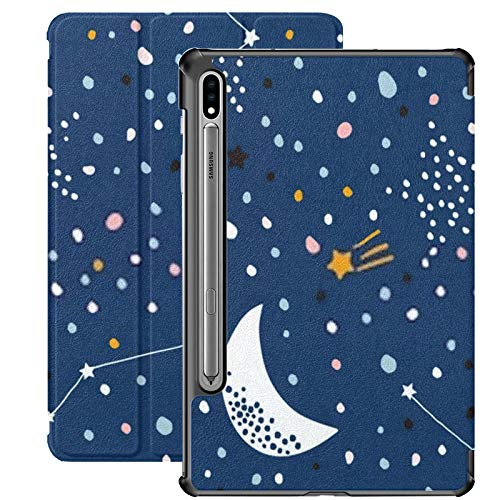 Funda para Samsung Galaxy S7 Plus con patrón Infantil sin Costuras Night Starry Sky PU Funda de Cuero para Samsung Galaxy Tab S7 Plus 12.4 Pulgadas 2020, Funda para Samsung Galaxy Tab S7 Plus con AC