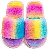 Boys Girls Open Toe Fuzzy Slippers Soft Plush Fluffy Fur Slide Sandals Leopard Rainbow House Home Slip On Indoor Outdoor (Stripe Rainbow, numeric_10)