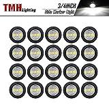 ( Pack of 20 ) TMH 3/4 Inch Mount White LED Clearance Bullet Marker lights, Side LED marker lights for trailer Truck RV Car Bus Van