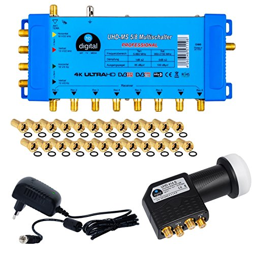 HB-DIGITAL Set: Quattro LNB Schwarz + Multischalter pmse 5/8 , 1x Satellit und bis zu 8 x Unabhängige Teilnehmer / Receiver für Full HDTV 3D 4K UHD mit Netzteil + 24 Vergoldete F-Stecker