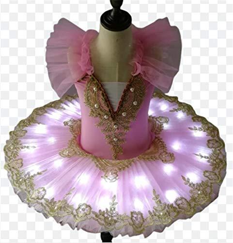 ZLYY Tut de ballet LED para nios y nias, vestido de lago de cisne, tut para tortitas, bailarinas, disfraces, fiesta, rosa, 110 cm