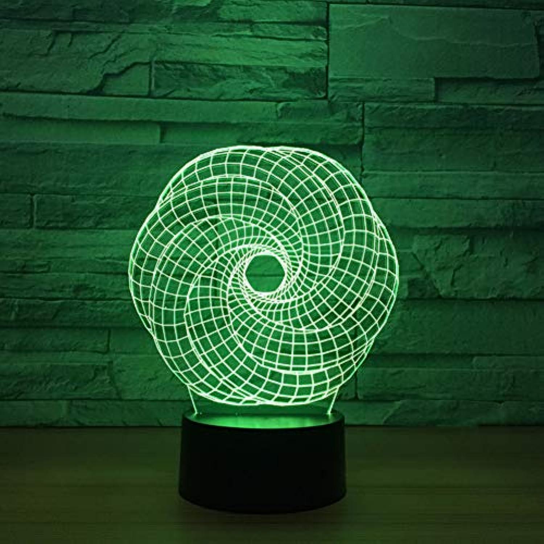 Wuqingren 7 Farben ndern 3D Verdrehte Runde Form LED Nachtlichter Tischlampe Schlafzimmer Baby Schlaf Beleuchtung Dekor Geschenke,Remote und berühren