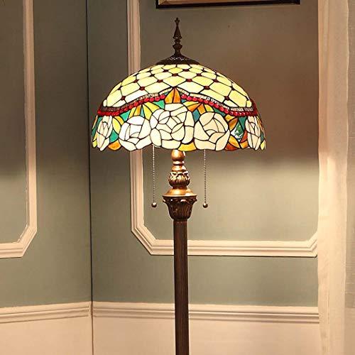 DSHBB staande lamp, 16 inch, roze, Tiffany-stijl, lampenkap van getint glas, modern licht voor woonkamer, bar, slaapkamer, E27 x 2,40 W