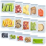 15 Pack FDA Grade Reusable Ziplock Bags Silicone (10 Sandwich & 5 Snack Bags), Leakproof & Plastic Free Lunch Bags, Food Grade PEVA Sandwich Bags and Snack Bags