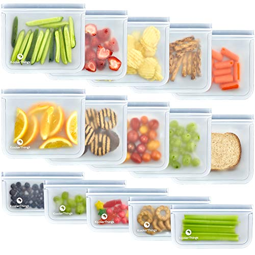 15 Pack FDA Grade Reusable Storage Bags (10 Sandwich & 5 Snack Bags), Leakproof Slicone & Plastic...