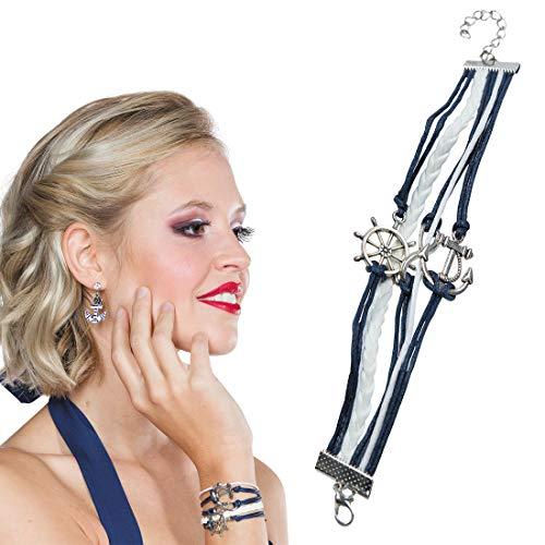 NET TOYS Stylisches Marine Armband im Nautik-Look - Schickes Damen-Accessoire Maritimes Seilarmband Matrosin - Wie geschaffen für Fasching & Karneval