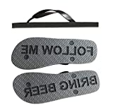 FlipSidez Mens Follow ME Bring Beer Sand Imprint flip Flops Black