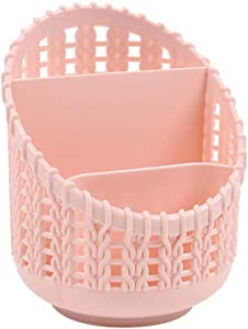 BaoST Hollow Out Rattan Style Pen Pencil Box Holder Office Desk Organizer Desktop Stationery Gadgets Storage Box Makeup Brushes Container for Home Dorm Office Pink