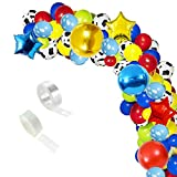Toy Story Balloon Garland Arch Kit, 106 pcs Cow Pattern Cloud Printed Colorful Latex Balloons with Balloon Strip for Toys Story Birthday or Paw Birthday Party Decorations.