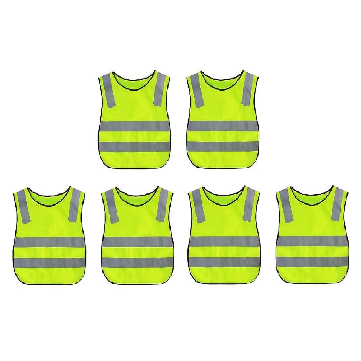 船乗り公爵夫人食物TOPTIEキッズ安全ベスト 衣装や屋外の夜の活動のための高視認性反射ビブ - ネオングリーン - 6 pack
