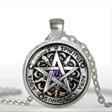 VAWAA Collar Wiccan Negro Magick Pagan apagan Pentagrama joyería cúpula de Vidrio Colgante Collar