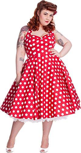 Hell Bunny Damen Kleid Mariam Punkte Polka Dots Dress (3XL, Kirschrot/Weiß Plus Size)