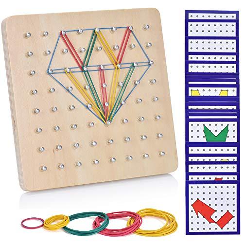 Ulikey Geoboard de Madera, Montessori Juguete Creativo Gráficos de Goma Corbata Placas de Uñas con Tarjetas de Actividad y Bandas de Goma, Aprendizaje Educación Juguete para Niños