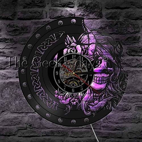 Dkzguq 1Piece Skull Helmet Horns Viking Warrior LED Light Vinyl Record Wall Clock with LED Illumination Scandinavian Viking Wall Lamp LED Indoor Wall Lamps