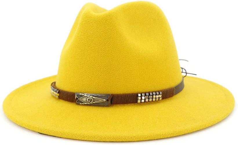 no-branded Cotton Top Hat Fedora Hat Men Women Flat Felt Hat Jazz Fedora Panama Party Hat Cool Hat ZRZZUS (Color : Yellow, Size : 56-58cm)