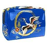 Bolsa de maquillaje portátil con cremallera bolsa de aseo de viaje para las mujeres práctico almacenamiento cosmético bolsa amarilla grúa torre
