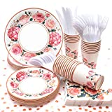 Vintage Floral Party Supplies, (Serves 24) Disposable Paper Plates, Napkins, Cups, Knives, Spoons, Forks, Tablecloth, Tableware Sets for Baby Shower Birthday Bridal Shower Tea Party