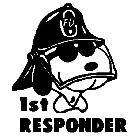 BD USA Snoopy Fire Fighter First Responder Decal, Decal Sticker Vinyl Car Home Truck Window Laptop