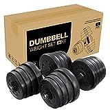 CLISPEED Hanteln Set Verstellbare Hantel Gewichte für Männer Frauen Gym Home Workouts (Schwarz, Paar 30 kg)