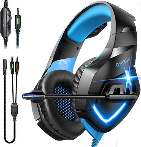 ONIKUMA Gaming-Headset, Over-Ear-Gaming-Kopfhörer mit Mikrofon, Geräuschunterdrückung, Stereo-Sound, weiche Memory-Ohrmuschel für PC, PS4, PS5, Nintendo 64, Xbox One, Laptops (Adapter nicht im Lieferumfang enthalten)