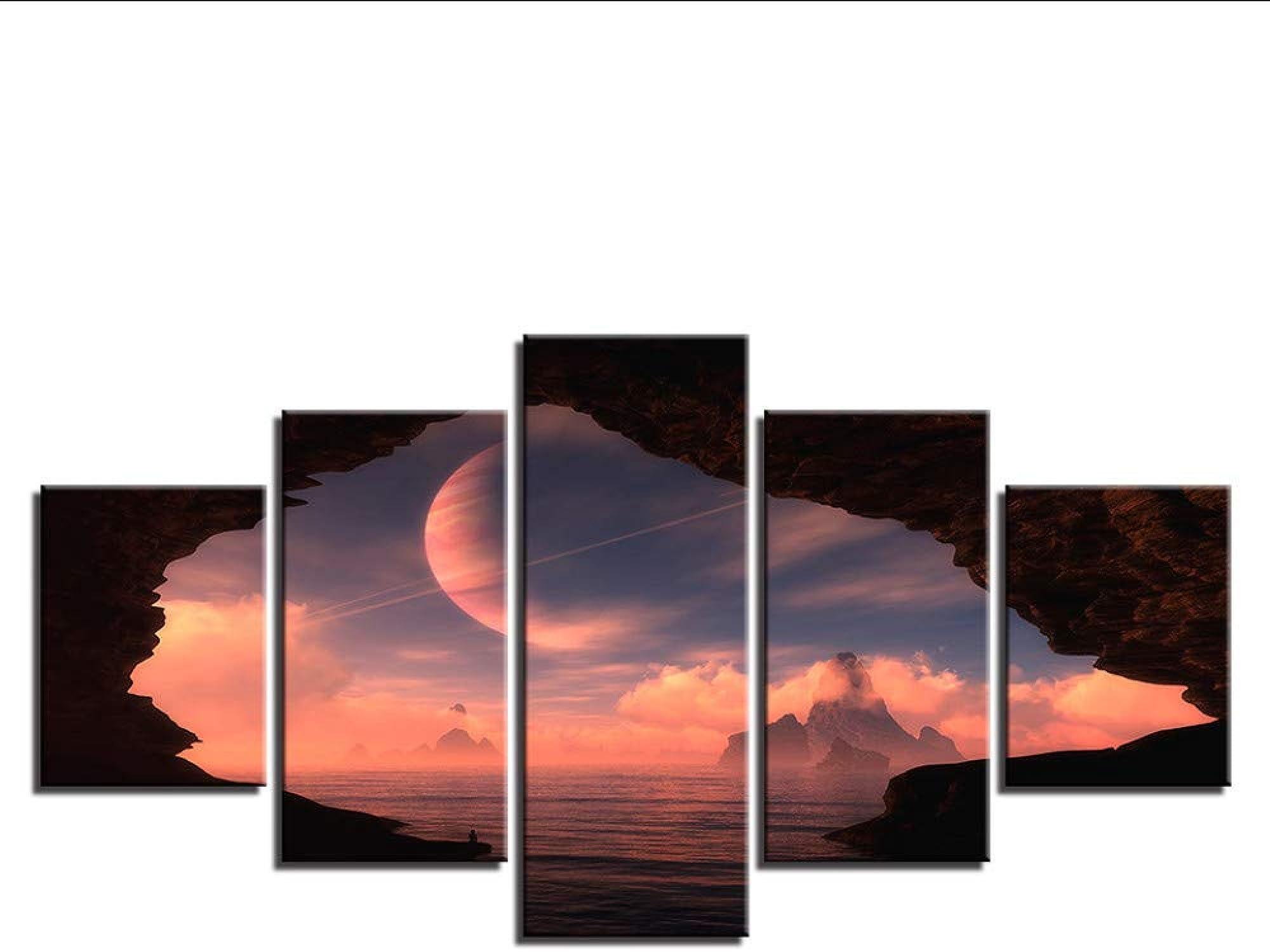bienvenido a elegir Guyuell Lienzo Impresión HD Pintura Decoración para el hogar hogar hogar Fotos 5 Unidades Planeta En El Cielo Fuera del Agujero Entrada de la Cueva Cartel Modular Arte de la Parojo-20CMx35 45 55CM,with Frame  solo para ti