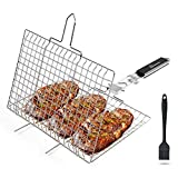 WolfWise Portable 430 Stainless Steel Portable BBQ Grilling Basket for Fish Vegetable Steak Shrimp...