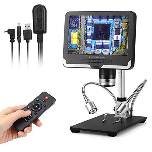 Andonstar AD206 200X Microscopio Digital 7 Pulgadas Pantalla LCD 1080P Lupa Digital con Soporte de Metal para Herramientas de Soldadura de reparación de Placas de Circuito