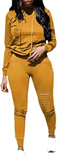 Women 2 Piece Outfits Long Sleeve Ripped Hole Pullover Hoodies Sweatpants Set Tracksuits