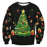 Qimao Allentato Felpa girocollo Top Babbo Natale Stampato a maniche lunghe Pullover