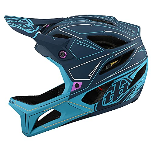 Troy Lee Designs Born from Paint Adult | Downhill | Enduro | Full Face Mountain Bike Stage Pinstripe Helmet (Marine, MD/LG)