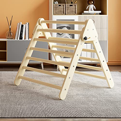 Benarita Pikler Triangle Foldable Wooden Climbing Triangle Ladder for Climbing Indoor Kids Play Gym Easy to Store Suitable for...