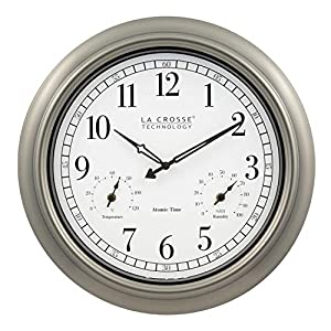 La Crosse Technology 404-1946-INT 18-Inch Indoor/Outdoor Classic Plastic Pewter Atomic Analog Clock