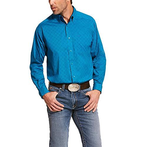 ARIAT Men's Barrington Stretch Classic Fit Shirt Enamel_Blue Size XL