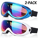 Ski Goggles, Pack of 2, Snowboard Goggles for Kids, Boys & Girls, Youth, Men