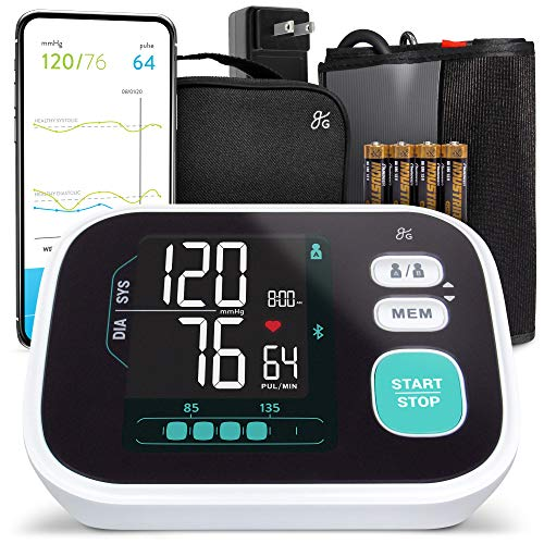 Greater Goods Smart Pro-Series Blood Pressure Monitor, Upper Arm Smart BPM with Large Backlit LCD, Premium Hardware, Bluetooth