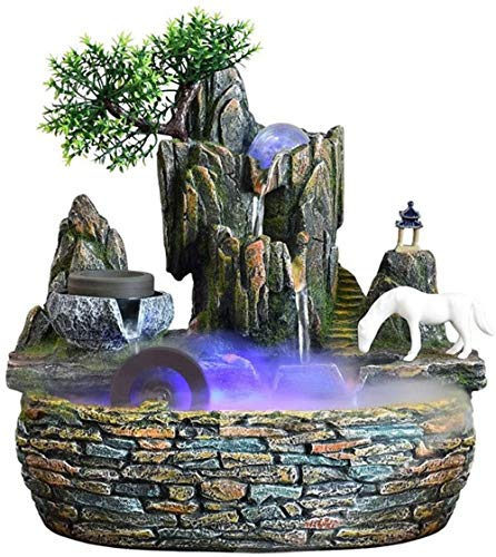 LLDKA Room Fountain Desktop Fountain Decoration Waterfall Fountain With Color Changing Lighting Meditation Waterfall
